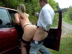 Busty amateur fucked by the car movies at sgirls.net