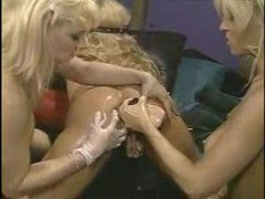 Three lusty lesbians penetrate with toys and body parts videos