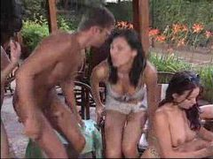 Crazy outdoor orgy with tons of fucking videos