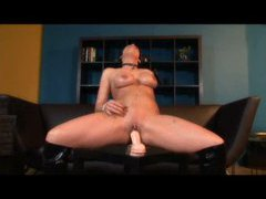 Lusty chick squirts when riding dildos videos