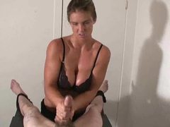 Busty chick giving handjob to tied down guy videos