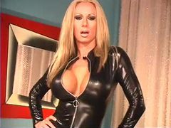 Perfect pornstar modeling a black leather catsuit movies at lingerie-mania.com