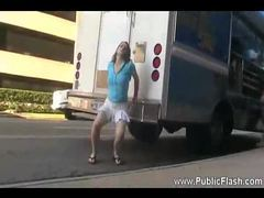 Flashing her ass in the parking lot videos
