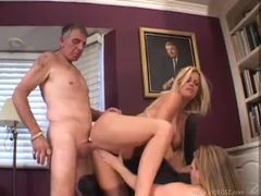 Two chicks blow and get fucked by old man videos