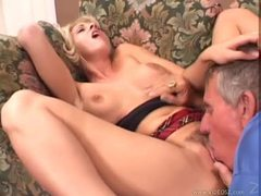 Old dude eats and fucks young blonde videos