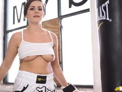 British boxing beauty hits the heavy bag with her tits out movies at kilomatures.com