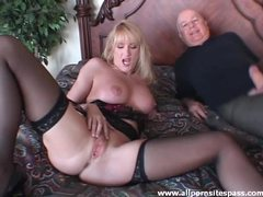 Milf in stockings sucks on cock tubes