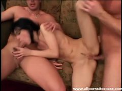 Tight bodied brunette teen handled rough in double penetration videos