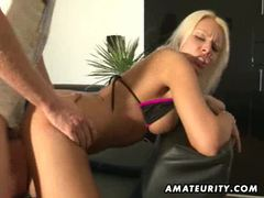 Busty blonde amateur girlfriend sucks and fucks with cumshot movies at kilosex.com