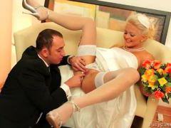 Pretty blonde bride giving her husband a blowjob movies at kilovideos.com