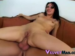 Raven haired goddess with tiny tits getting double penetrated videos
