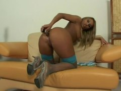 Perfectly bronzed blonde babe with gorgeous ass using toys movies at lingerie-mania.com