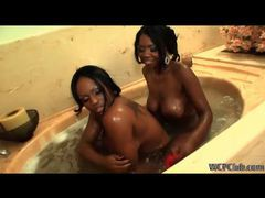 Sexy ebony lesbian duo using toys in the tub movies at find-best-panties.com