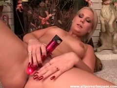 Sensual blonde minx with perky tits fucking red dildo videos