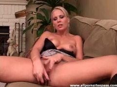 Perky titted blonde hottie using a silver dildo movies at kilosex.com