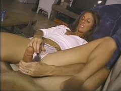 Leggy milf teases cock with her handjob videos