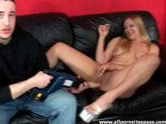 Horny blonde vixen using a dildo drill on her pussy movies at sgirls.net