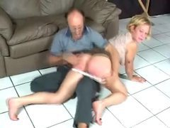 Naughty blonde getting spanked by older man movies at freekiloclips.com