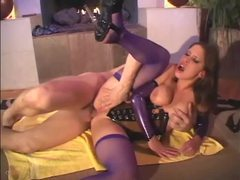 Brunette fucks in shiny latex corset and fishnets videos