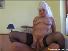 Granny wears stockings for their hardcore fuck videos