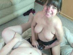 Fat slut fucked by strapon dildo clip