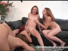 Hot lesbian gangbang gets very heated videos