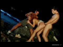 Flawless curly hair girl threesome on beach movies