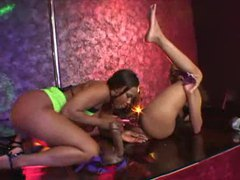 Black strippers have lesbian sex on stage movies at lingerie-mania.com