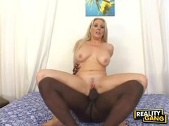 Busty blonde babe with hot curves enjoys interracial fuck videos
