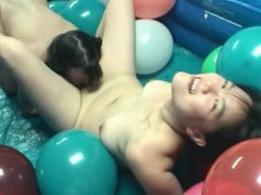 Pigtailed lesbians in pool filled with balloons movies at freekilopics.com