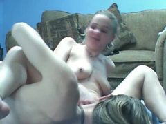Lesbian duo also enjoy cock in kinky threesome tubes