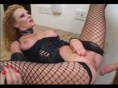 Roleplay sex in leather and fishnet stockings videos