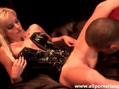 Petite blonde in kinky latex corset sucking cock movies