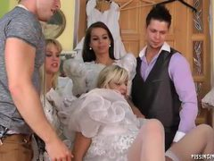 Girls try on wedding dresses and piss videos