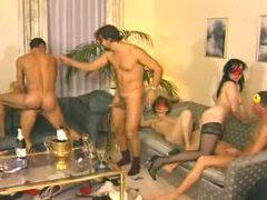 Masked men fuck hot sluts at an orgy movies at kilomatures.com