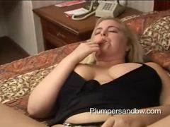 Fat blonde with big tits sucks cock videos