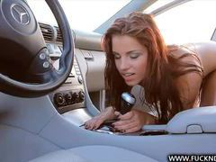 Redhead rides the gear shift in the car videos