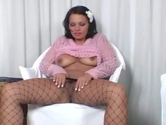 Big booty brunette teasing in fencenet pantyhose movies at adspics.com