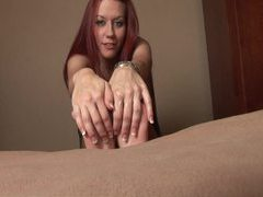 Smiley redhead rubs lotion on her cute feet movies at kilopics.net