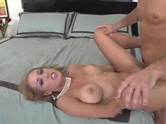 Elegant blonde with pearl necklace spreads for dick videos