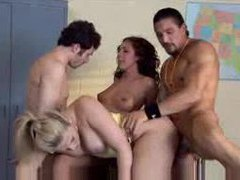 Wild gangbang goes crazy in the garage videos
