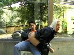 Leather jacket dude fucks blonde outdoors videos