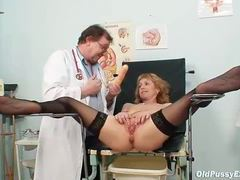 She keeps her stockings on during gyno exam videos