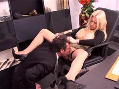 He goes down on his beautiful boss in office videos