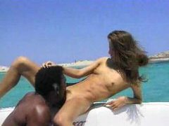 Hot interracial couple enjoy fucking on a boat tubes