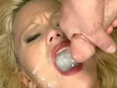 Slutty blonde whore swallows many men videos