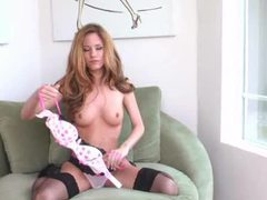 Skinny redhead in lace top stockings solo movies at kilotop.com