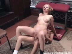 Pigtailed blonde gets her ass impaled on cock clip