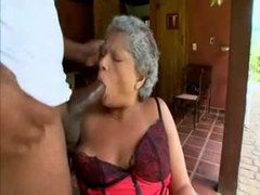 Granny in satin lingerie sucks big black cock movies at lingerie-mania.com