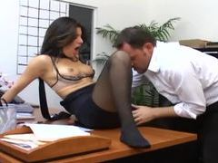 Office sex with a busty secretary in sexy hosiery movies at lingerie-mania.com